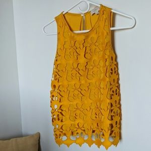 LOFT XSP mustard yellow detailed blouse